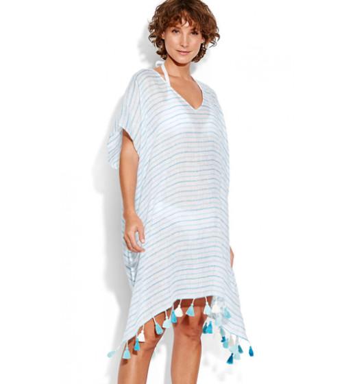Linen Stripe Kaftan-Blue