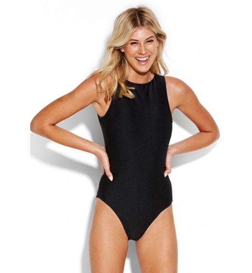 High Neck Swimsuit-Blk
