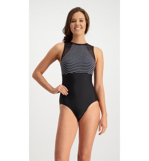 Mesh High Neck Bubble Stripes Swimsuit.