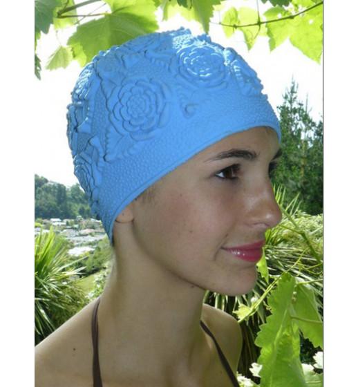 Retro Rose  Swim Cap- Blue